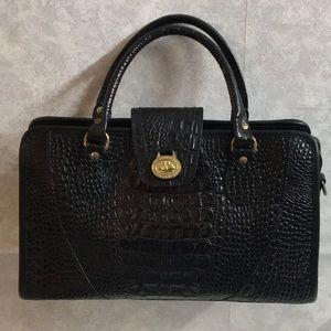 Brahmin black croc leather embossed purse bag